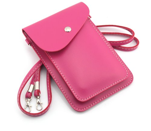 Big Dragonfly Universal Pu Leather Two Layers Mobile Phone Bag & Pouch & Purse For Iphone 5/5S Iphone 4 /4S Samsung Galaxy Note 2/3 Samsung Galaxy S5 S4 S3 And All Other Kinds Of Mobile Phones (Hot Pink) front-831720