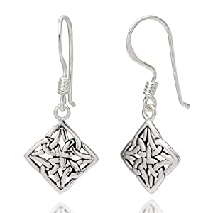 925 Sterling Silver Square Celtic Knot Dangle Hook Earrings 1.26'' Jewelry for Women - Nickel Free from Chuvora
