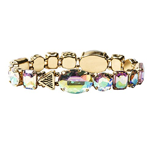 Claire'S Accessories Girls Katy Perry Gold Iridescent Crystal Gems Stretch Bracelet