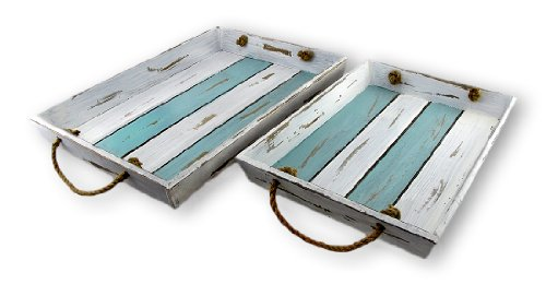 Pair Of Distressed Finish Blue And White Slat Board Serving Trays