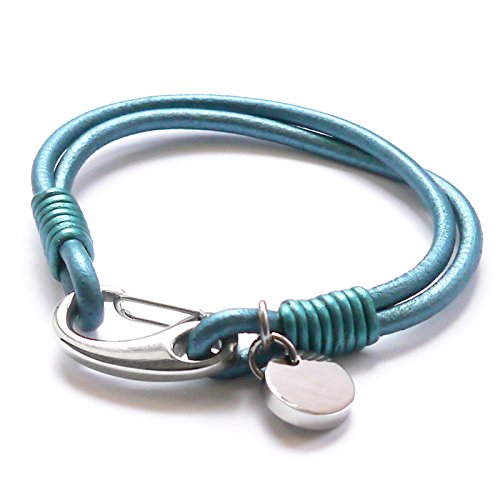 Tribal Steel Jade Leather Two Strand Unplaited