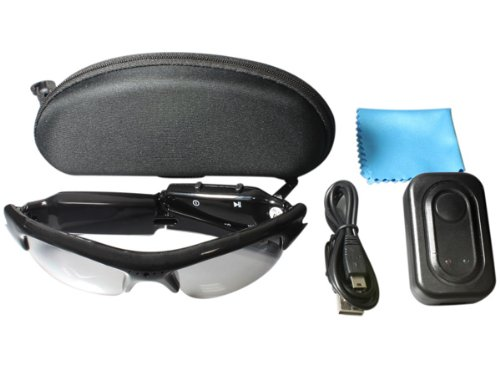 Video Sunglasses - Stylish Elegant Design with Concealed Video Camera Recorder- Free 2GB TFcard provided + Micro SD Card Slot - Includes Case + Cleaning Cloth