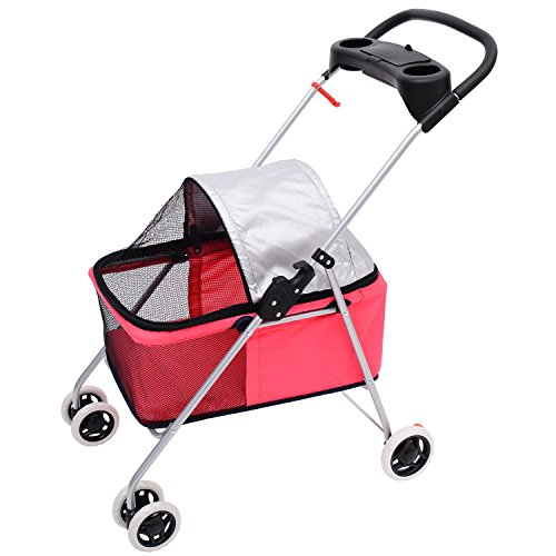 Pawhut Covered Folding Pet Stroller For Dogs And Cats - Pink front-566330