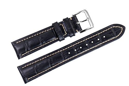 22 mm di lusso nero cinturini sostituzione pelle italiana / fasce handmade bianco cuciture pelle bovina genuina top-grain