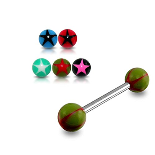 14Gx5/8 (1.6x16MM) 316L Surgical Steel Straight Barbell with 5MM UV Star Ball Tongue Piercing Rings - 10 Pieces Assorted Color as Show