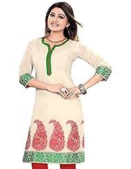 Meher Impex Chanderi Cotton Off-White 3/4 Sleeves Kurti