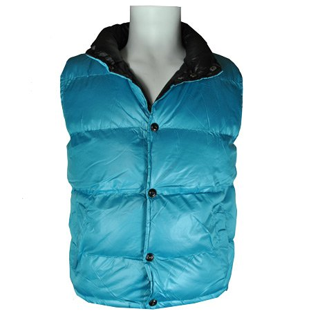 Fly Guy Quilted Padded Buttoned Gilet Jacket Turquoise Mens Size S