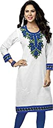 SDM Women's Kurti Printed Cotton Dress Material Unstitched (P-130-White, Unstitched)