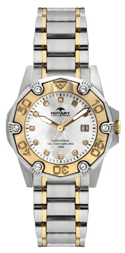 Rotary Women's Quartz Watch with Mother of Pearl Dial Analogue Display and Silver Stainless Steel Bracelet ALB00033/W/40