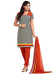 Inddus Women Black & Orange Colored Printed Dress Material