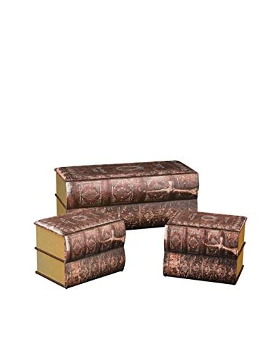 Artistic Set of 3 Antique Book Trunks, Burgundy & Gold