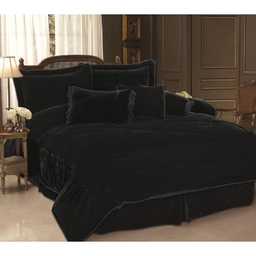 7PC BLACK VELVET COMFORTER SET BED IN A BAG