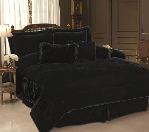 7 Piece Queen Black Velvet Comforter Bedding Set
