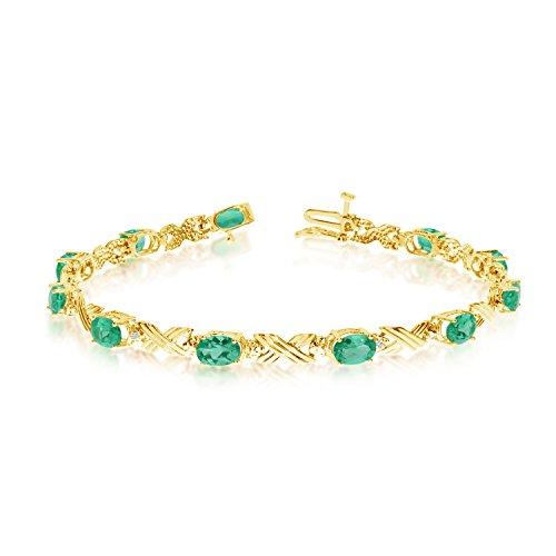 14K Yellow Gold Oval Emerald and Diamond Bracelet by Jewelry Mountain