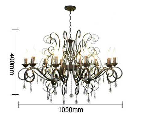 CLAXY Ecopower Vintage Wrought Iron 10-lights Chandelier with Crystal Dangle 4