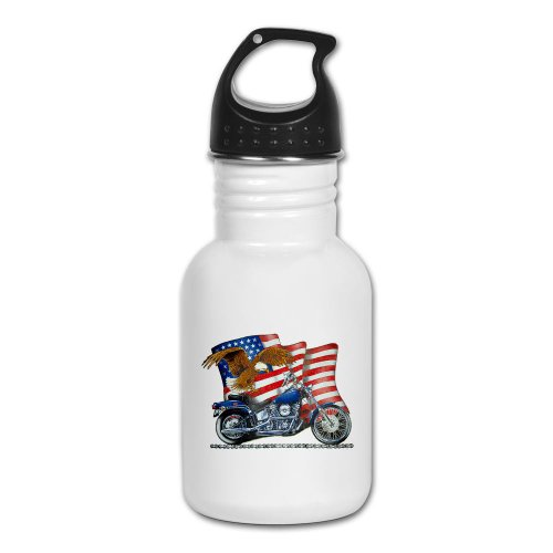 Kid's Water Bottle Motorcycle Eagle And US Flag