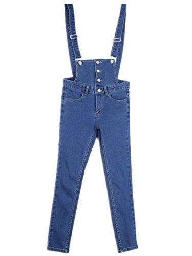Happy FLL Women Juniors Casual Pencil Slim Fit Overrall Ankle length Jeans Blue