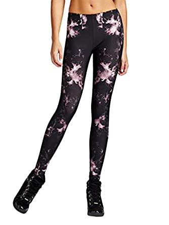 GUESS Women's Sublimated Floral-Print Leggings, JET BLACK MULTI (SMALL)