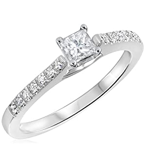 3/8 CT. T.W. Diamond Ladies Engagement Ring 10K White Gold- Size 9.75