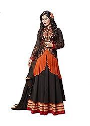 Sk Creation Rimi Sen Black And Orange Neck Embroidered Semi Stitched Long Anarkali Suit