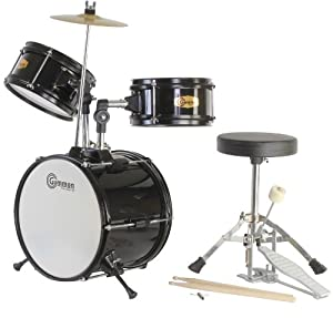 Black Drum Set Junior Kit with Cymbal Stool and Sticks by Gammon Percussion