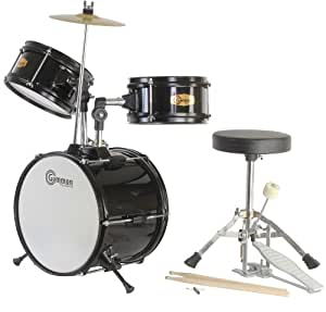 Black Drum Set Junior Kit with Cymbal Stool and Sticks