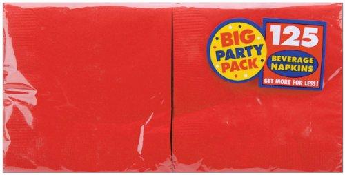 Big Party Pack Beverage Napkins 25cm X 25cm, 125/Pkg, Apple Red