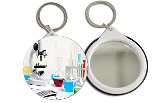 Rikki Knighttm Microscope Bright Color Fluid Bottles Design 2.25 Inch Keychain Button Mirror Key Chain