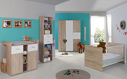 babyzimmer komplettset kinderzimmer komplett set elisa verschiedene varianten in eiche sonoma. Black Bedroom Furniture Sets. Home Design Ideas