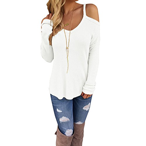 Eiffel Women's Cold Shoulder Knit Long Sleeves Pullover Sweater Tops Blouse Tunic White