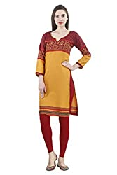 Vaamsi Women's PolyCotton Unstitched Kurti Fabric(KFD1015_Orange_Free Size)