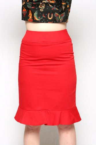 Heartbreaker Fashion Pin Up Girl Retro Style Red Pencil Skirt Small - Plus 2X