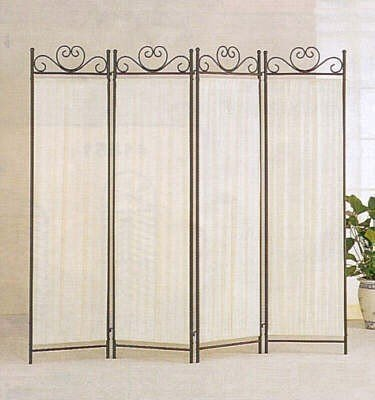 4-Panel Room Screen Divider Ivory Linen Fabric And Black Metal Frame front-889430