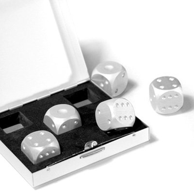 Aluminum Dice 5 in 1 Set Travel Case Deluxe Gift Souvenir - 1