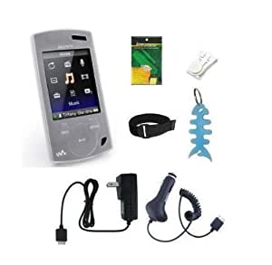 7 Pieces Accessory Combo for Sony Walkman S Series Video MP3 Player (NWZ S540 NWZ S544 and NWZ S545): Includes (Clear/White) Silicone Skin Case Cover Wall Charger Car Charger Armband Belt Clip LCD Screen Protector and Fishbone Style Keychain