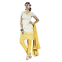 Gilora Fashions Women's Cotton Unstitched Dress Material (GF-111_White and yellow)