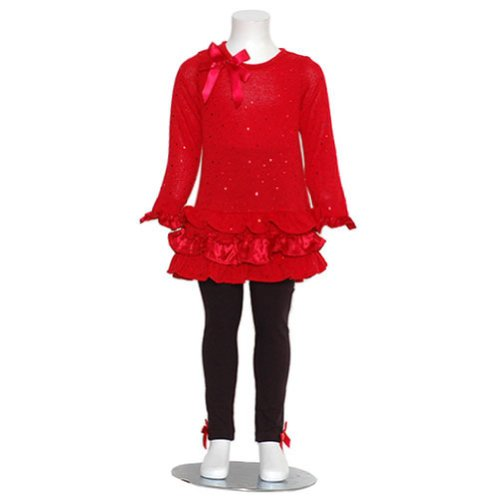 Rare Editions Little Girls 4 Red Christmas Sweater Leggings Outfit