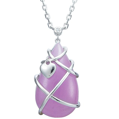 Sterling Silver Wire Wrapped Pink Jade and White Topaz Pendant Necklace, 18