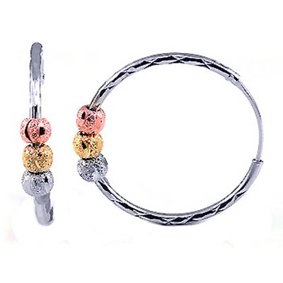Stylish Sterling Silver Tri-Color Diamond-Cut Hoop Earrings With Rhodium, High Quality Polish, Comes with a Free Special Gift Pouch, Special Discounted Price
