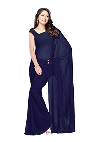 Parisha Latest collection of Plain Sarees in Georgette Fabric & in attractive Navy Blue Color