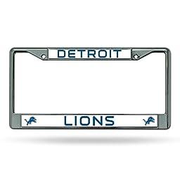 Rico Industries NFL Chrome License Plate Frame, Detroit Lions