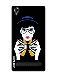 Omnam Girl With Black And White Bow Printed Designer Back Cover Case For Intex Aqua Power Plus