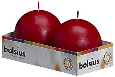 Bolsius Outdoorindoor Ball Candles 70mm Tray Of 2 - Wine Red by Ivyline