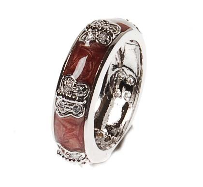 Brass Rhodium Overlay Maroon Enamel Ring With Butterfly Design With CZ Circle Stones!