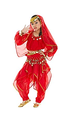 Dreamspell 2014 Christmas Children/Kids Belly Dance Lovely Costumes Tops/Pants 7pcs