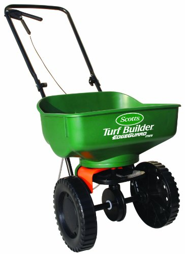 Read About Scotts 76121 Turf Builder EdgeGuard Mini Broadcast Spreader, 5000-Square-Foot Coverage