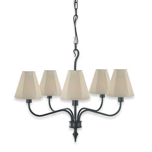 Royce Lighting RL2161/5BK/1 Indoor/Outdoor Five-Light Chandelier Black with Beige Weather Resistant Fabric Shades