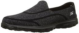 Skechers Performance Women\'s Go Walk 2 Super Sock 2 Goga Mat Slip-On Shoe, Black/Black 2, 8 M US