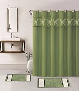 Wpm 15 Piece Multi Color Jacquard Bath Rug Set Butterfly Collection Shower Curtain