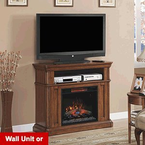 Classicflame Oakfield Wall/Corner Infrared Electric Fireplace Media Center In Pecan Birch - 23De8202-P273